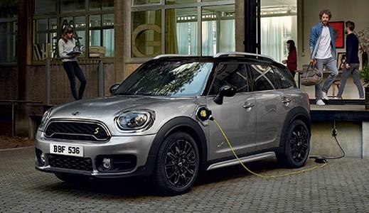 Grey MINI Countryman Hybrid charging.