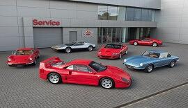 Ferraris parked outside Ferrari Wilmslow.
