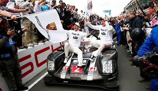 Black Porsche at Le Mans.