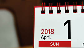 Calendar showing the 1st April 2018.