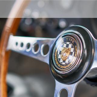 Jaguar lightweight E-Type steering wheel.