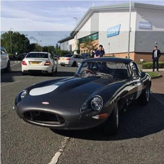 Jaguar Lightweight E-Type parked at Car Cafe Wilmslow.